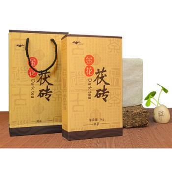 一天一叶高山云雾茶叶 金花茯砖黑茶1kg 茯砖茶茯茶礼盒装