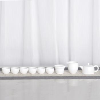 顺美井栏壶羊脂玉茶具6人组