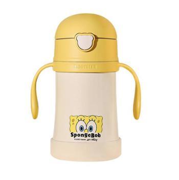 杯具熊带吸管手柄背带两用儿童保温杯280ml 海绵宝宝