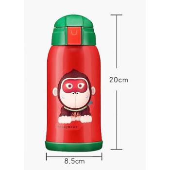 韩国杯具熊保温杯儿童水杯带吸管宝宝男女学生婴儿便携防漏水杯子600ml