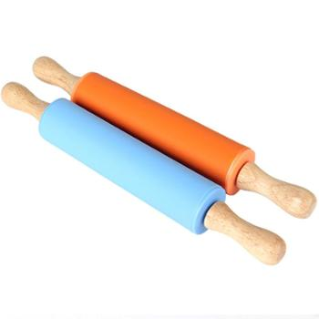 家用硅胶擀面杖 防粘大号实木手柄滚轴饺子皮不粘擀面棍烘焙工具