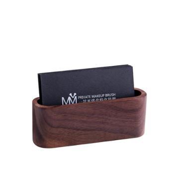 实木办公桌面收纳名片盒创意前台木质名片架子男商务卡片夹名片座