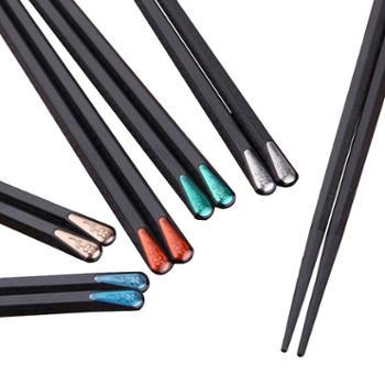 日式尖头寿司筷子一人一双5合金筷子防滑家用家庭套装10分色区分
