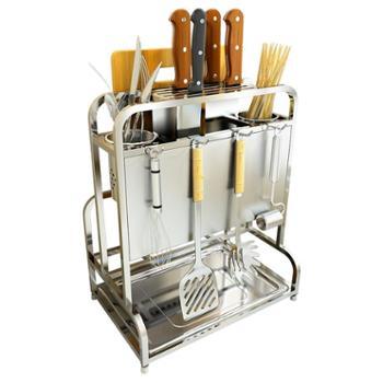 304不锈钢厨房刀架筷子筒一体 加厚家用砧板菜板置物架厨台式简易
