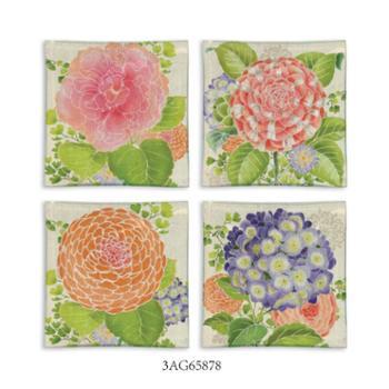 爱屋格林Evergreen欧式时尚创意水果盘玻璃盘子4个居家点心干果用