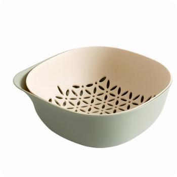 优思居 双层塑料洗菜盆沥水篮 厨房洗菜篮水果篮子水果盘家用果盆