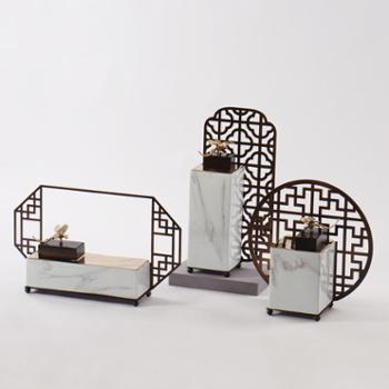 新中式禅意金属装饰罐花瓶摆件售楼处书房软装饰品*陶瓷摆设