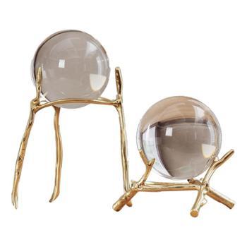 北欧创意家居金属电视柜酒柜玻璃水晶球摆件美式*客厅装饰品