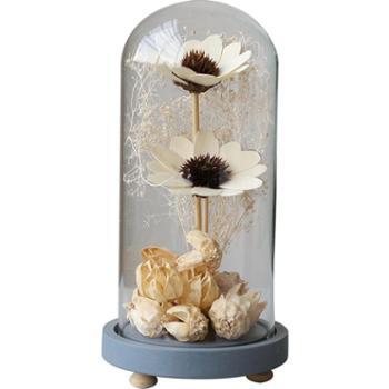 zakka美式乡村咖啡馆服装店铺干花玻璃罩家居装饰品摆件创意礼品
