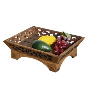 木质干果盘供果盘中式现代客厅创意个性家用复古中国风实木水果盘