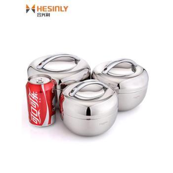 苹果饭盒不锈钢保温便当盒儿童小学生圆形大容量防烫食堂打饭简约