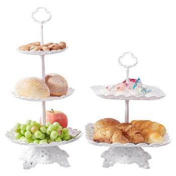 塑料水果盘家用客厅三层蛋糕架欧式干果盘下午茶点心台甜品架双层