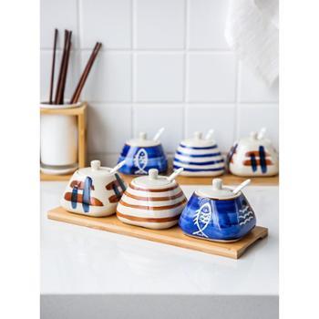 川岛屋 日式创意调料盒套装家用厨房陶瓷盐罐调料调味瓶罐TW-34