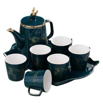 北欧奢华陶瓷水具套装家用美式水杯客厅整套杯具茶具茶杯凉水壶