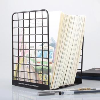 4片/2片智美网状铁艺书立架金属书夹黑白简约时尚插书架子置书板创意桌上