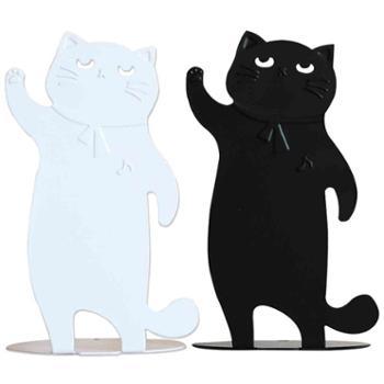 巨门文具黑白卡通猫造型书立创意金属书立书挡 学生办公铁艺书桌