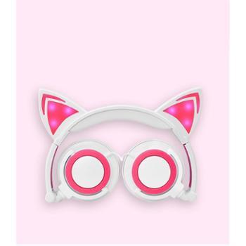 亲爱的热爱的佟年鱿小鱼杨紫同款猫耳朵卡通动漫发光猫耳头戴式耳机耳麦折叠K歌创意礼品男女学生女生少女心