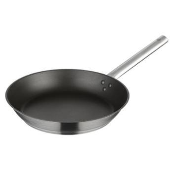 蒂洛克单柄不锈钢28cm平底锅 少油烟不粘锅 电磁炉通用