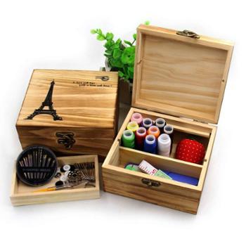 金达针线盒中国风大号结婚木质手缝复古手工针线套装