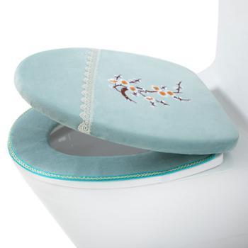 每时美家 冬季马桶垫粘贴厚款四季通用垫圈带盖套装