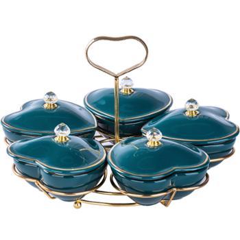 言则 北欧干果盘分格盘创意家用陶瓷水果盘