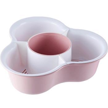 康丰 水果盘家用双层拼盘三角沥水篮