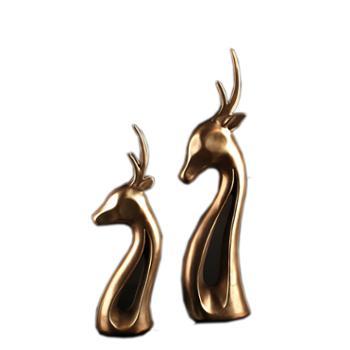 玄翠峰(饰品)情侣铜鹿树脂工艺品摆件