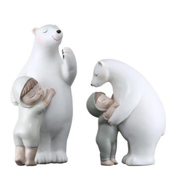 CLCGRAND北极熊抱萌娃树脂工艺品摆件HYQ19233CG