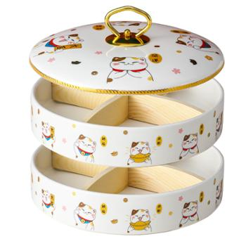 雅迩泰创意招财猫陶瓷分格零食糖干果盘