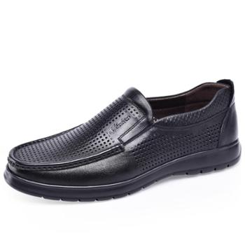 金猴(JINHOU)韩版舒适低帮镂空透气牛皮男凉鞋Q30024A