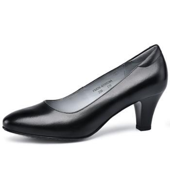 金猴浅口圆头办公室正装女士皮鞋高跟牛皮办公室工装鞋Q50028A