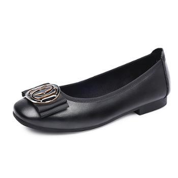 金猴浅口牛皮低跟女单鞋蝴蝶结装饰柔软舒适女鞋Q50034A