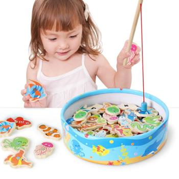 铭塔木质磁性儿童钓鱼玩具池套装小孩子男孩女宝宝益智1-2-3岁半周岁