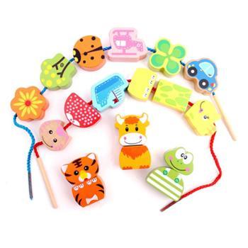 铭塔 大号积木制宝宝早教益智力手眼协调串珠动物1-3-6周岁穿珠子玩具