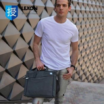 法国LEXON航空商务防水手提单肩迷你13寸公文包LN325蓝黑色