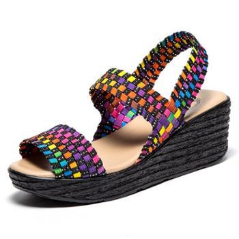 韩版夏季编织女鞋时尚厚底松糕鞋坡跟松紧带休闲凉鞋 SNT0075