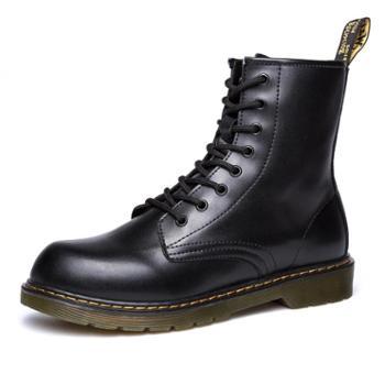 新品英伦风厚底机车靴户外高帮马丁鞋潮男工装靴通用个性男靴668