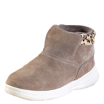韩版潮流女棉鞋加绒加厚保暖磨砂真牛皮短靴时尚女雪地靴 SNT0088