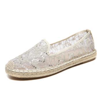 夏季新款欧美潮套脚蕾丝透气女鞋 一脚蹬日常驾车鞋 WKD15