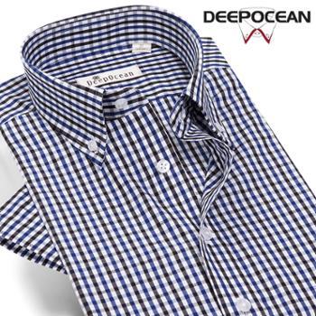 纯棉格子衬衫男短袖