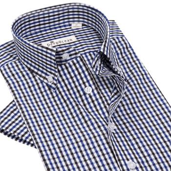 深海纯棉格子短袖衬衫纯棉
