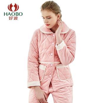 【电商款】好波睡衣加厚女士翻领家居服保暖可外穿套装DJJ19152