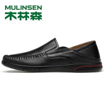 木林森男鞋2019款男士商务休闲皮鞋手工缝制橡胶大底男士皮鞋
