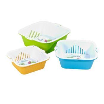 茶花 厨房洗菜篮子双层沥水塑料水果盆篮漏水果蔬菜筐淘菜盆滴水筛1个 颜色随机