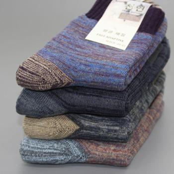 4双装礼盒袜子男冬季 男士加厚全棉中筒毛巾袜秋冬男人超厚保暖毛圈袜
