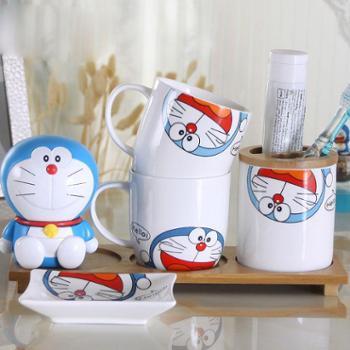 哆啦A梦创意牙具欧式洗漱套件浴室用品漱口杯陶瓷卫浴四件套装样式可备注不备注随意发货