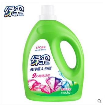 绿伞去污超人洗衣液3kg瓶 深层洁净 薰衣芳菲