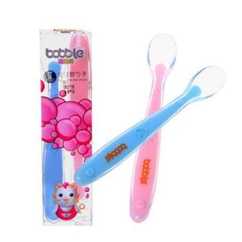 儿童勺子 宝宝硅胶软勺 碗勺餐具新生儿软头勺婴儿勺子辅食小勺子 粉色蓝色两支装