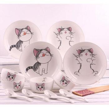 卡通餐具碗碟套装可爱起司猫家用陶瓷餐具韩式骨瓷米饭碗盘子