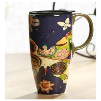 Evergreen爱屋格林 创意水杯子马克杯带盖大容量咖啡杯车载陶瓷杯